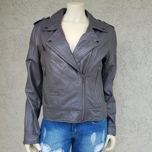 Blank NYC Gray Leather Moto Jacket
